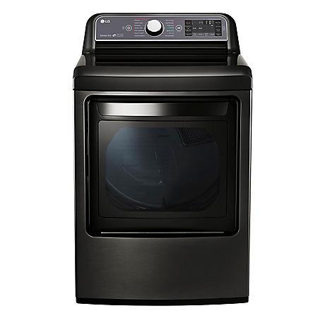 LG - 7.3 cu. ft. Ultra-Large Capacity TurboSteam Electric Dryer with LG EasyLoad Door - DLEX7600KE Black Stainless Steel