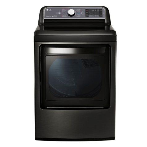 LG 7.3 cu. ft. Ultra-Large Capacity TurboSteam Electric Dryer with LG EasyLoad Door - DLEX7600KE Black Stainless Steel