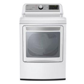 LG 7.3 Cu. Ft. EasyLoad Door Gas Dryer, White