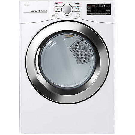LG - DLGX3701W - 7.4 cu ft Ultra Large Capacity Smart Wi-Fi Enabled SteamDryer (GAS) - White