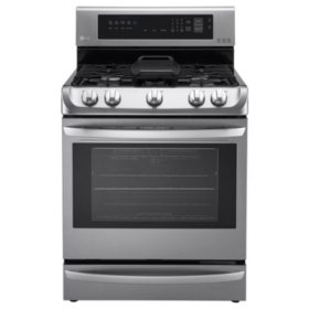 LG 6.3 cu. ft. Gas Single-Oven Range with ProBake Convection, EasyClean and Warming Drawer - LRG4115ST Stainless-Steel
