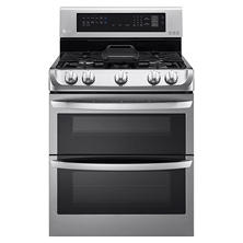LG 6.9 cu. ft. Gas Double-Oven Range with ProBake Convection, EasyClean and Gliding Rack - LDG4315ST Stainless-Steel