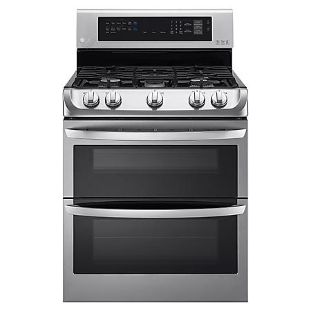 LG - 6.9 cu. ft. Gas Double-Oven Range with ProBake Convection, EasyClean - LDG4313ST Stainless-Steel