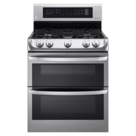 LG 6.9 cu. ft. Gas Double-Oven Range with ProBake Convection, EasyClean - LDG4313ST Stainless-Steel
