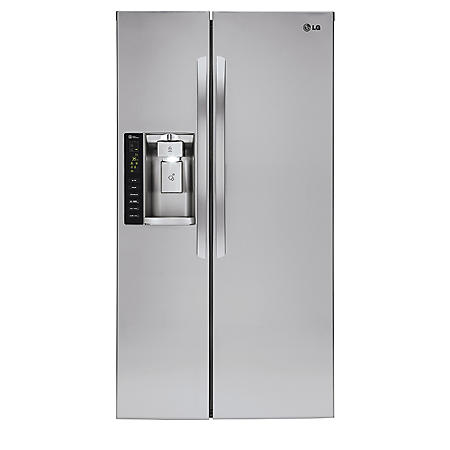 LG - 26 cu. ft. Ultra-Capacity Side-by-Side Refrigerator with Ice and Water Dispenser - LSXS26326S Stainless Steel
