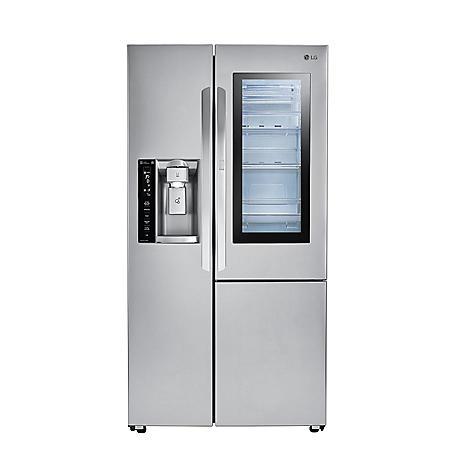 LG - LSXC22396S - 22 cu ft InstaView Door-in-Door Side-By-Side Counter-Depth Refrigerator - Stainless Steel