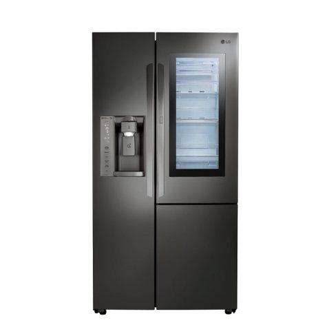 LG - LSXC22396D - 22 cu ft InstaView Door-in-Door Side-By-Side Counter-Depth Refrigerator - Black Stainless Steel