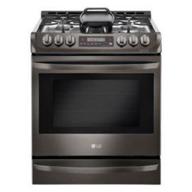 LG - LSG4513BD - 6.3 cu. ft. Gas Slide-In Range with ProBake Convection and EasyClean, Black Stainless Steel