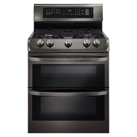 LG 6.9 cu. ft. Double-Oven Gas Range with ProBake Convection and EasyClean - LDG4313BD Black Stainless Steel