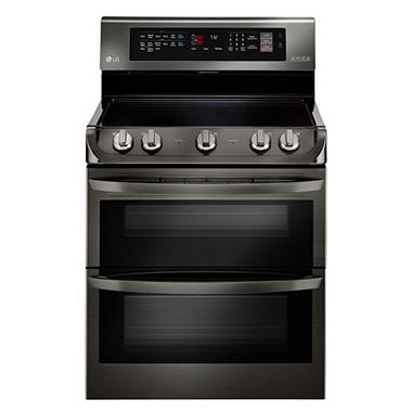 LG 7.3 cu. ft. Electric Double-Oven Range with ProBake Convection, EasyClean and Infrared Grill System - LDE4415BD Black Stainless-Steel