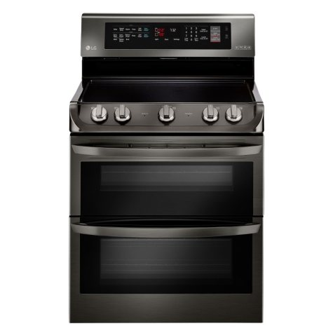 LG - 7.3 cu. ft. Electric Double-Oven Range with ProBake Convection, EasyClean and Infrared Grill System - LDE4415BD Black Stainless-Steel