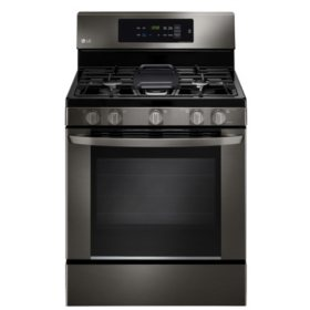 LG 5.4 cu. ft. Single-Oven Gas Range with EasyClean - LRG3061BD Black Stainless Steel