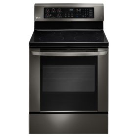 LG 6.3 cu. ft. Single-Oven Electric Range with EasyClean - LRE3061BD Black Stainless Steel