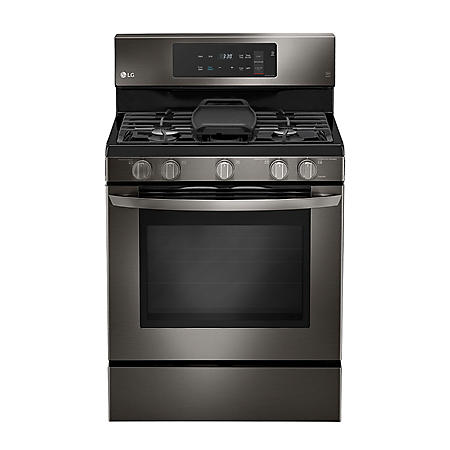 LG - LRG3193BD - 5.4 cu. ft. Gas Single Oven Range with EvenJet Fan Convection, Black Stainless Steel