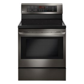 LG - LRE3193BD - 6.3 cu. ft. Electric Single Oven Range with True Convection, Black Stainless Steel