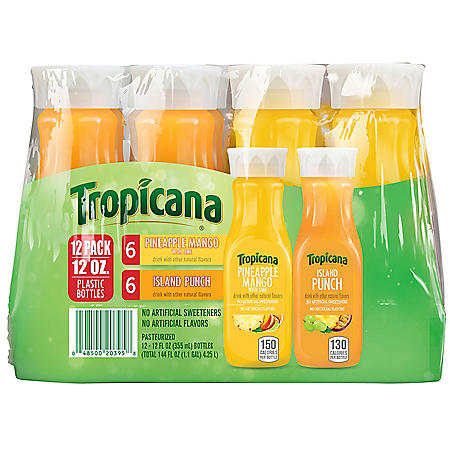Tropicana Pineapple Mango With Lime and Island Punch Variety Pack (12 fl. oz., 12 pk.)