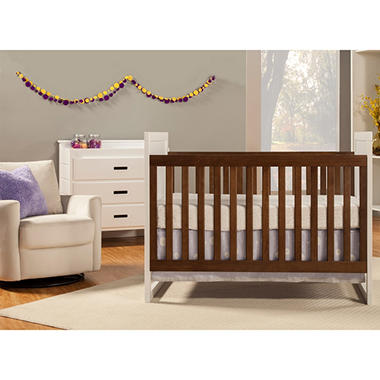 Baby Mod Modena Mod Two-Tone 3-in-1 Convertible Crib, White and ...