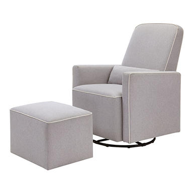 DaVinci Olive Glider and Ottoman, Grey with Cream Piping