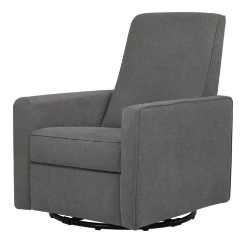 DaVinci Piper Recliner and Swivel Glider In Dark Gray Finish with Dark Gray Piping