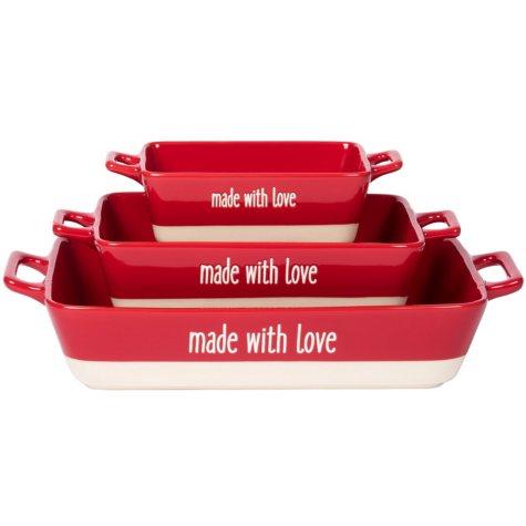 """Made With Love"" 3-Piece Rectangular Red Baker Set"