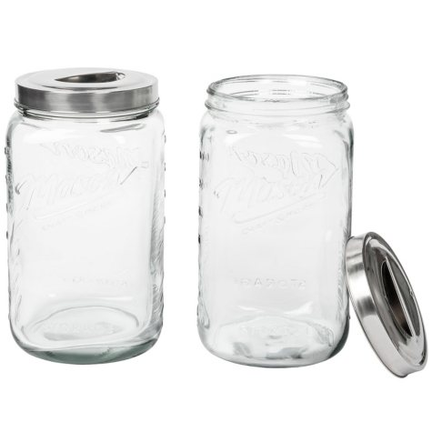 Mason Clear Glass Canisters, Set of 2