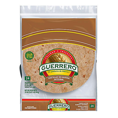Guerrero 100% Whole Wheat Soft Taco Flour Tortillas (24 ct., 35 oz.)