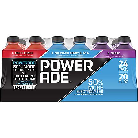 Powerade Sports Drink Variety Pack (20 fl. oz. bottles, 24 pk.)