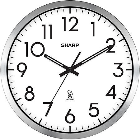"Sharp Analog Atomic Wall Clock, 14"" Diameter"