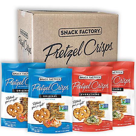 Snack Factory Pretzel Crisps, Original and Everything (7.2 oz., 4 ct.)