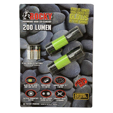 ROCKY®  200 Lumen Performance Grade LED Flashlight - 2 pk. - Black or Silver