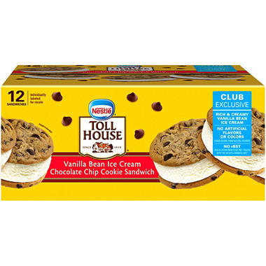Nestle Toll House Chocolate Chip Cookie Vanilla Bean Ice Cream Sandwiches (12 ct.)