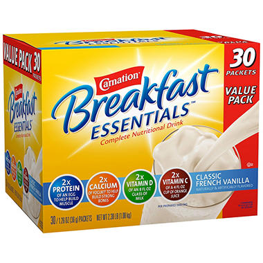 Carnation Breakfast Essentials Nutritional Drink Mix - Chocolate or Vanilla - 30 ct.