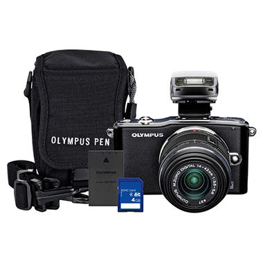 Olympus E-PM1 12.3MP Mirrorless Camera Bundle with 4GB SD Card, Olympus Li-ion Battery, and Camera Bag