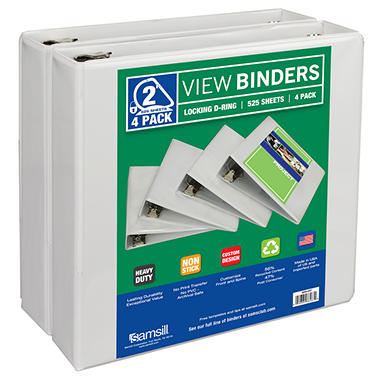 Samsill View Binder, D Ring, White,  2