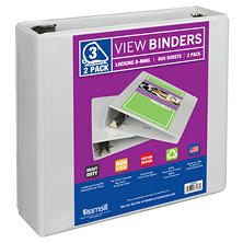 "Samsill View Binder - 3"" - White- 2 pk."