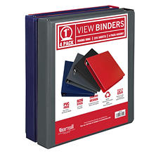 "Samsill 1"" View Binder 4pk (Assorted Colors)"