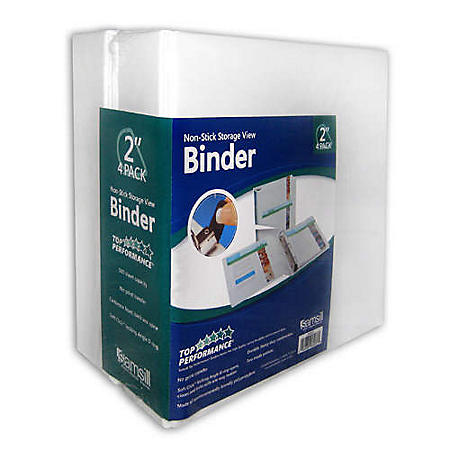 "Samsill Non Stick View Binder - 2"" - 4 pk."