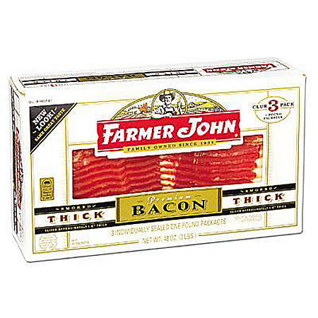 Farmer John® Premium Thick Bacon - 3/1 lb. pks