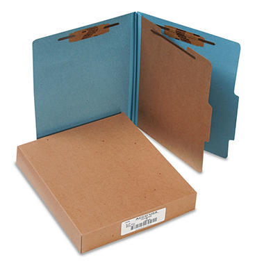 ACCO Pressboard 25-Pt 4-Section Classification Folders, Sky Blue (Letter, 10ct.)