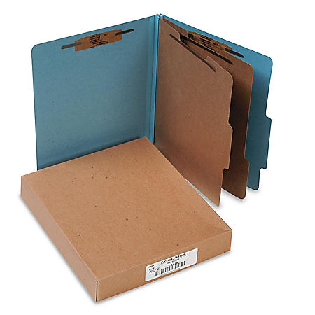 ACCO Pressboard 25-Pt Classification Folders, 6-Section, Letter, Sky Blue, 10ct.