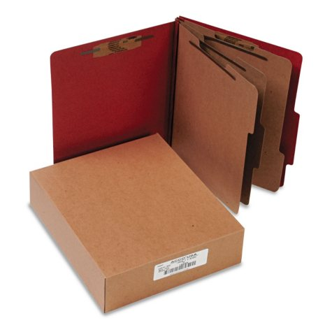 ACCO Pressboard 20-Pt 8-Section Classification Folders, Earth Red (Letter, 10ct.)