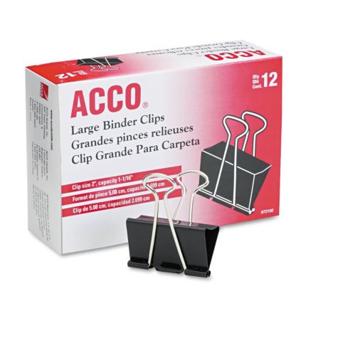 ACCO - Binder Clips, Large - 12 Count