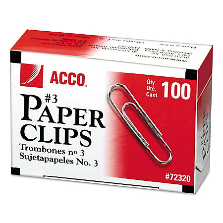 ACCO Smooth Economy Paper Clips - No. 3 Size - Steel Wire - 100 ct. - 10 pk.
