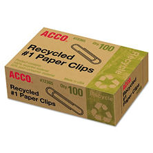 ACCO - Recycled Paper Clips - No. 1 Size - 100 Per Box