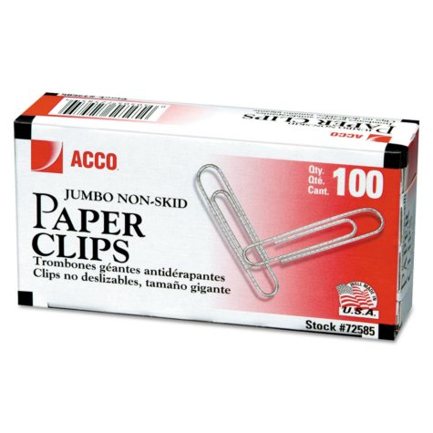 ACCO - Paper Clips, Jumbo, Non-Skid, 100 Count - 10 Pack