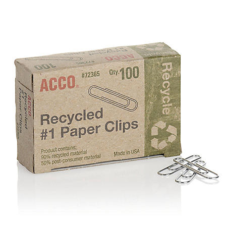 ACCO® Recycled Paper Clips, 90% Recycled, Smooth, Size #1, 100/Box, 20 Pack