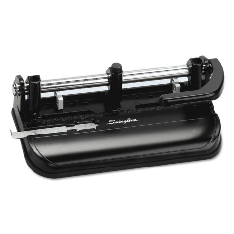 "Swingline - 32-Sheet Lever Handle Two- to Seven-Hole Punch, 9/32"" Holes -  Black"