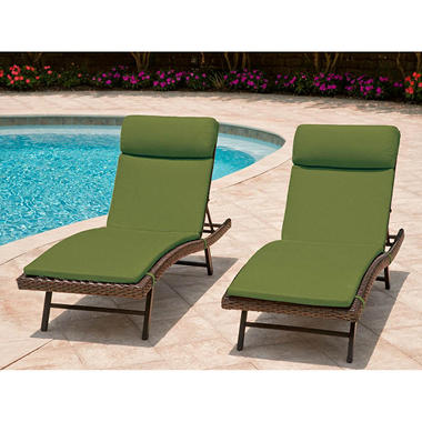 Heritage 2-Pack Chaise Cushion with Premium Sunbrella® Fabric - Canvas Palm
