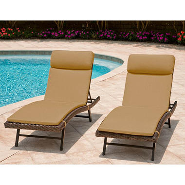 Heritage 2-Pack Chaise Cushion with Premium Sunbrella® Fabric - Sesame