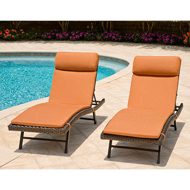 Toronto Outdoor Chaise Cushion Canvas Pumpkin - 2 pk.